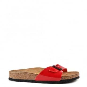 Madrid Tango Red Patent Buckle Flat Sandal