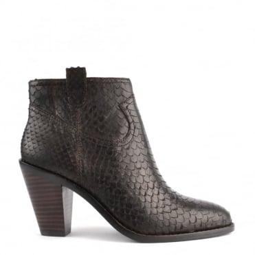 Ivana Sigaro 'Brown' Python Ankle Boot