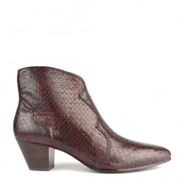 Hurrican Bordeaux Python Ankle Boot