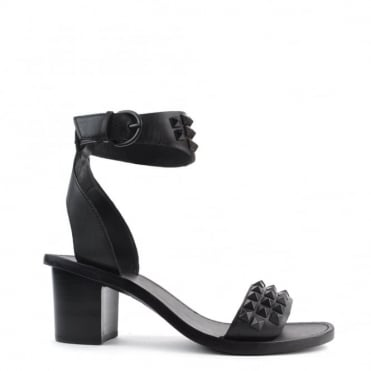 Pearl Black Studded Heeled Sandal