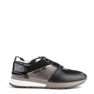 Allie Black and 'Silver' Gun Metal Trainers