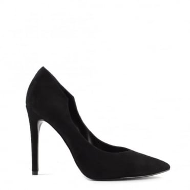 Abi Black Suede Pointed Court Shoe
