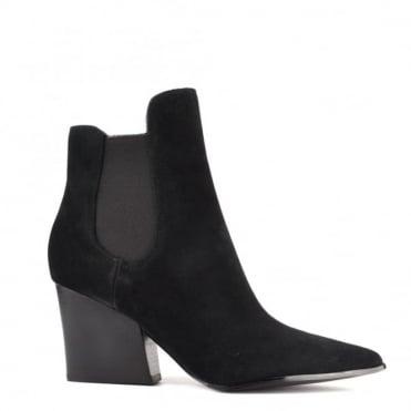 Finley Black Suede Pointed Block Heel Boot