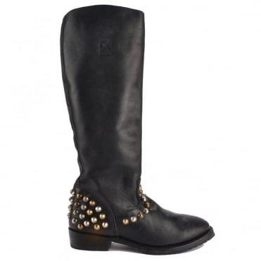 Vamos Black Leather Studded Tall Boot