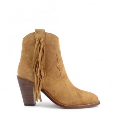 Isha Camel Suede Tassel Ankle Boot