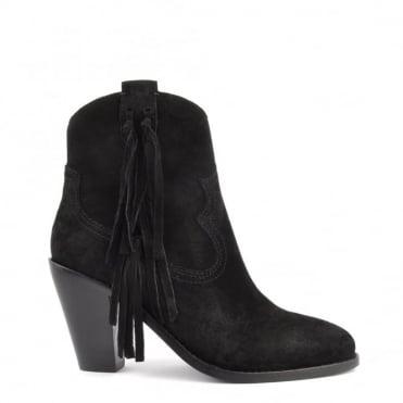 Isha Black Suede Tassel Ankle Boot