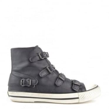 Virgin Graphite 'Dark Grey' Leather Buckle Trainer