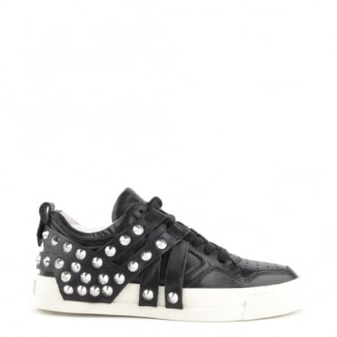 Extra Black Leather Studded Trainer
