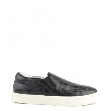 Impuls Black Croc Leather Slip On Trainer