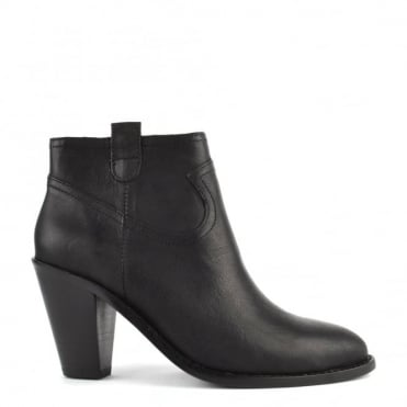 Ivana Black Leather Ankle Boot