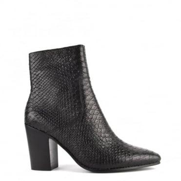 Kate Black Python Textured Heeled Boot