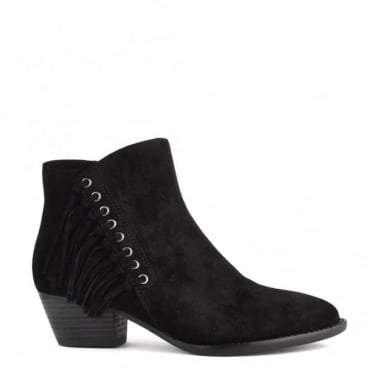Lenny Black Suede Fringed Boot