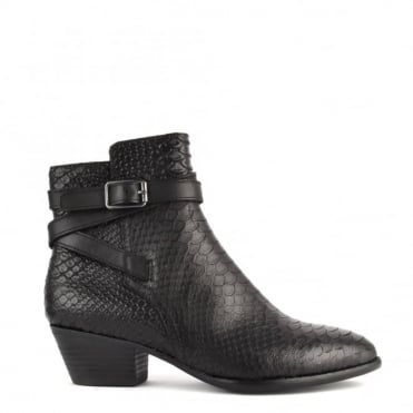 Lois Black Python Textured Ankle Boot