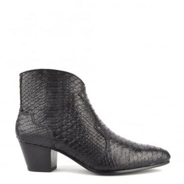 Hurrican Black Python Embossed Ankle Boot