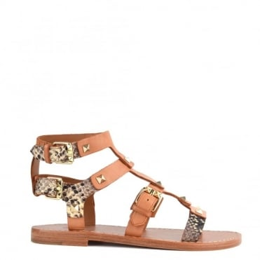 Morocco Camel and Roccia Studded Flat Sandal