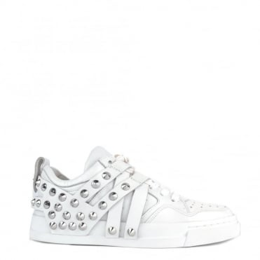Extra White Leather Studded Trainer