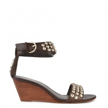 Dune Brown Studded Wedge Sandal