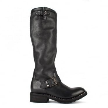 Sugar Black Leather Tall Boot