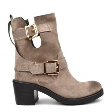 Taupe Suede Heeled Boot