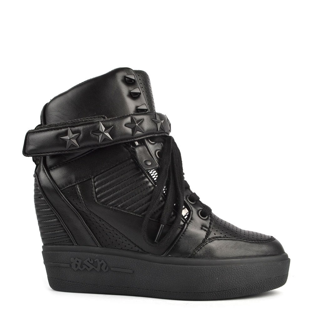 Ash Footwear Ashes Black Leather Wedge