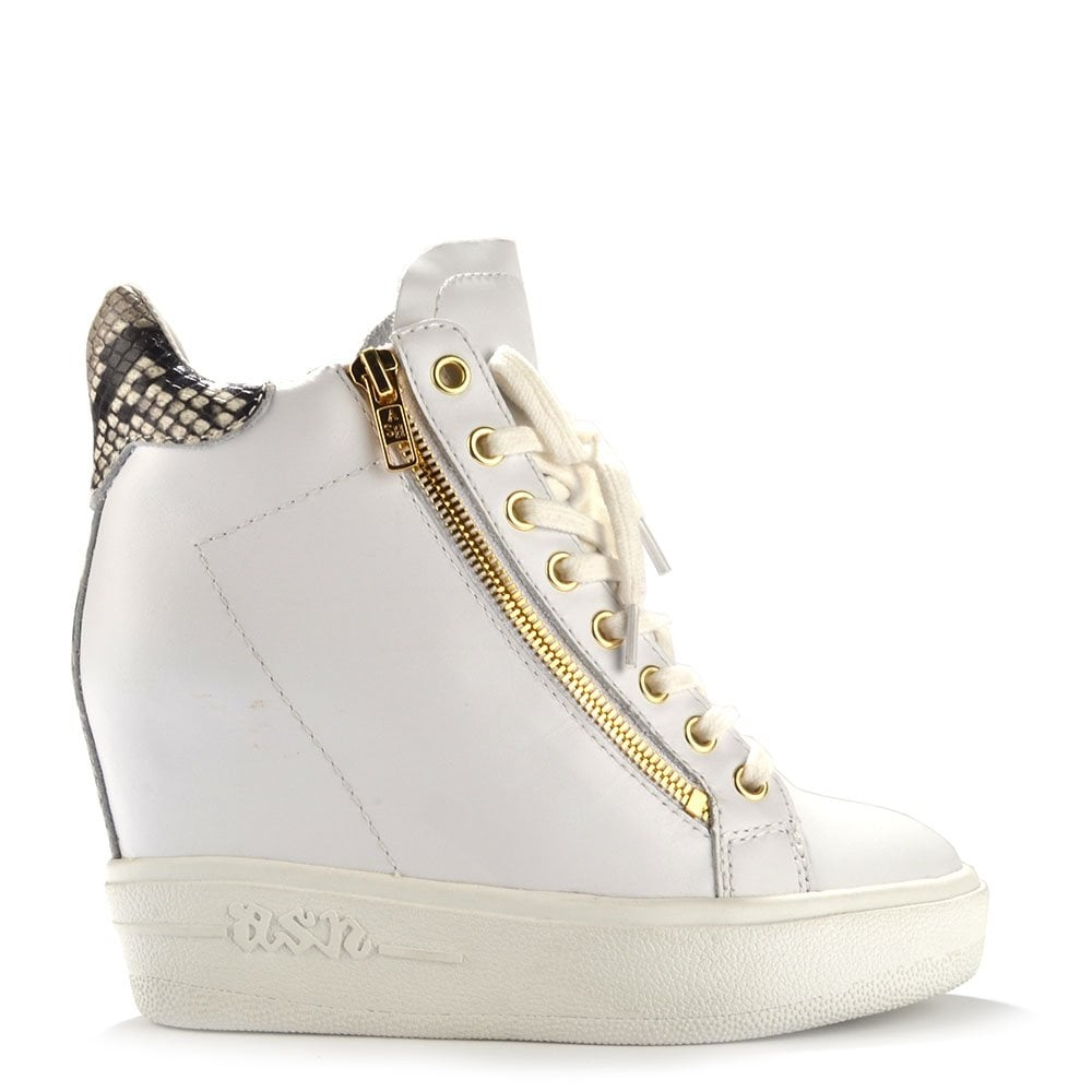 Atomic White Leather Wedge Trainer