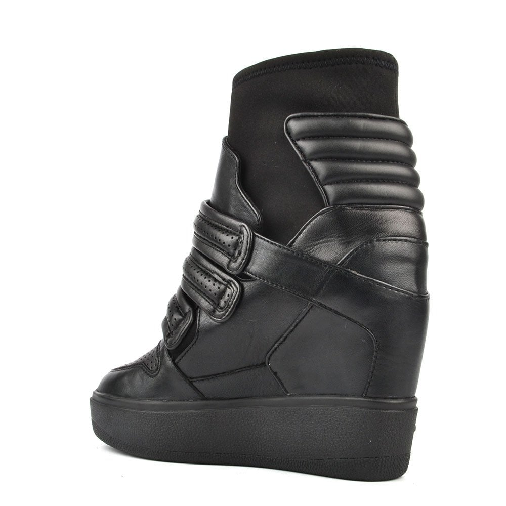 c9bef21aab557 Ash Footwear Axel Black Leather Wedge Trainer - Women from Brand ...