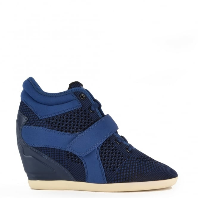 Ash Footwear Bebop Knit Ocean Blue and Black Neoprene Trainer