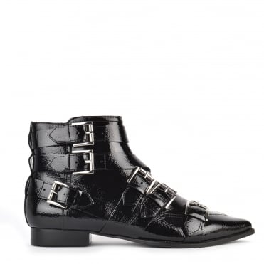 Blast Black Vinyl Leather Buckle Boot