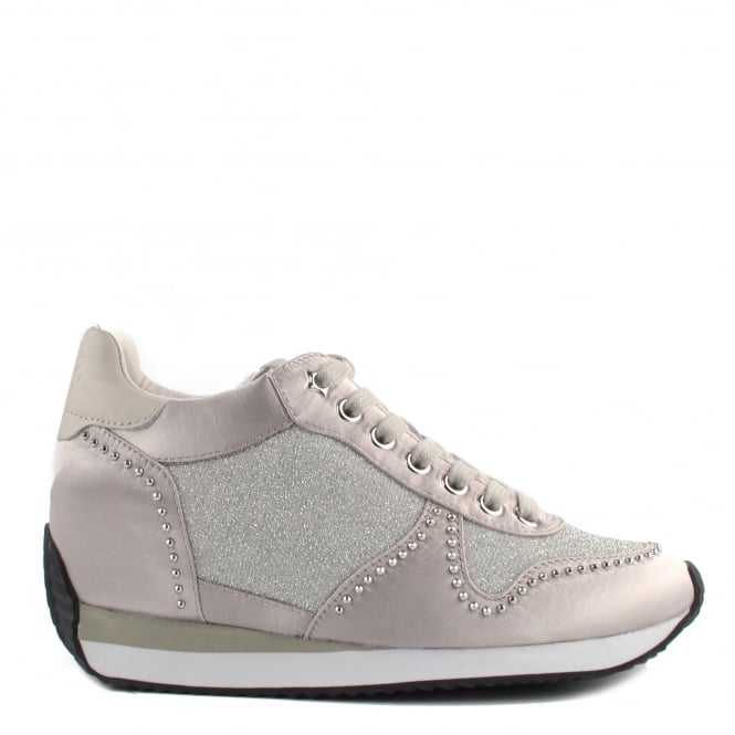 Ash Footwear Blush Bis Satin and Marble Low Wedge Trainer