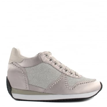 Blush Bis Satin and Marble Low Wedge Trainer