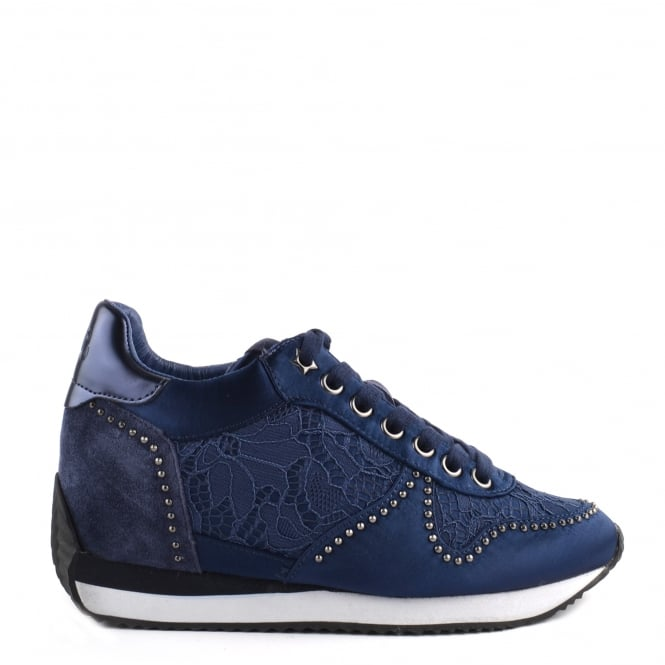 Ash Footwear Blush Navy and Satin Wedge Trainer