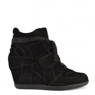 Bowie All Black Suede Wedge Hi-Top Trainer