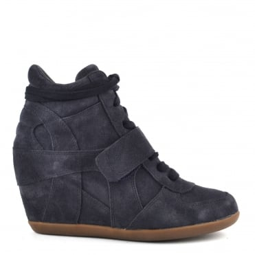 Bowie Bis Midnight Suede Wedge Trainer