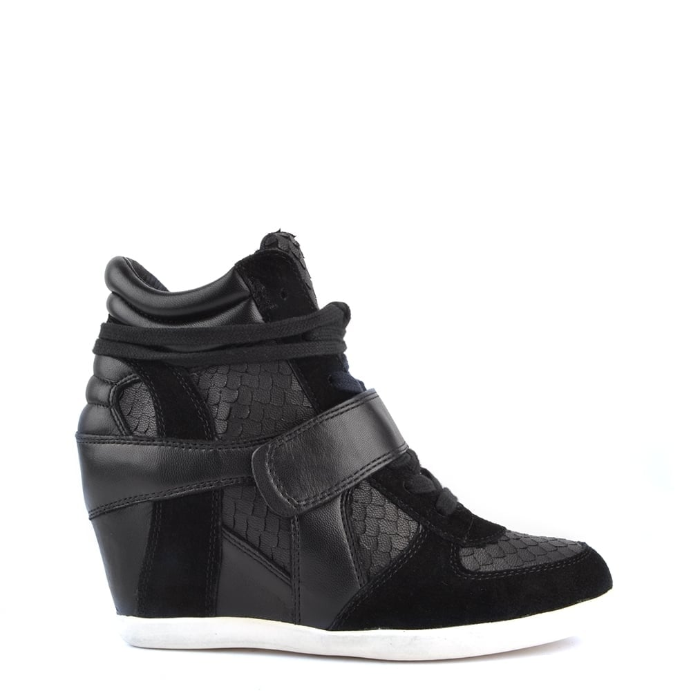 Bowie Black Python Embossed and Leather Wedge Trainer
