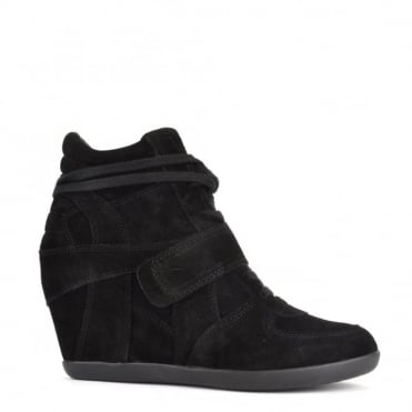 Bowie Black Suede Wedge Trainer