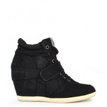 Bowie Black Washed Denim Hi-Top Trainer