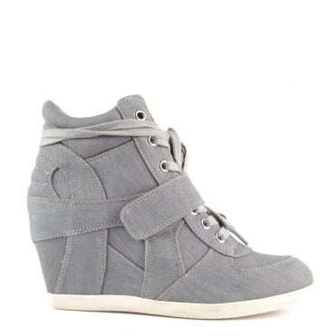 Bowie Grey Washed Denim Hi-Top Trainer