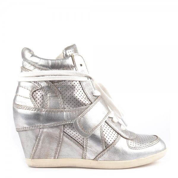 369074893ff3 Ash Footwear Bowie Ter Silver Hi-Top Wedge Trainers - Women from ...
