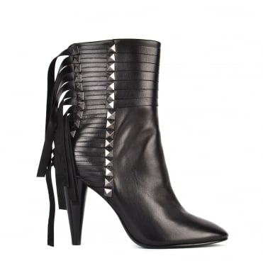 Brave Black Leather and Gunmetal Studded Heeled Boot