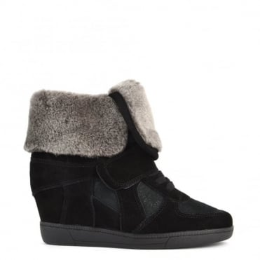 Brendy Black Shearling Wedge Trainer