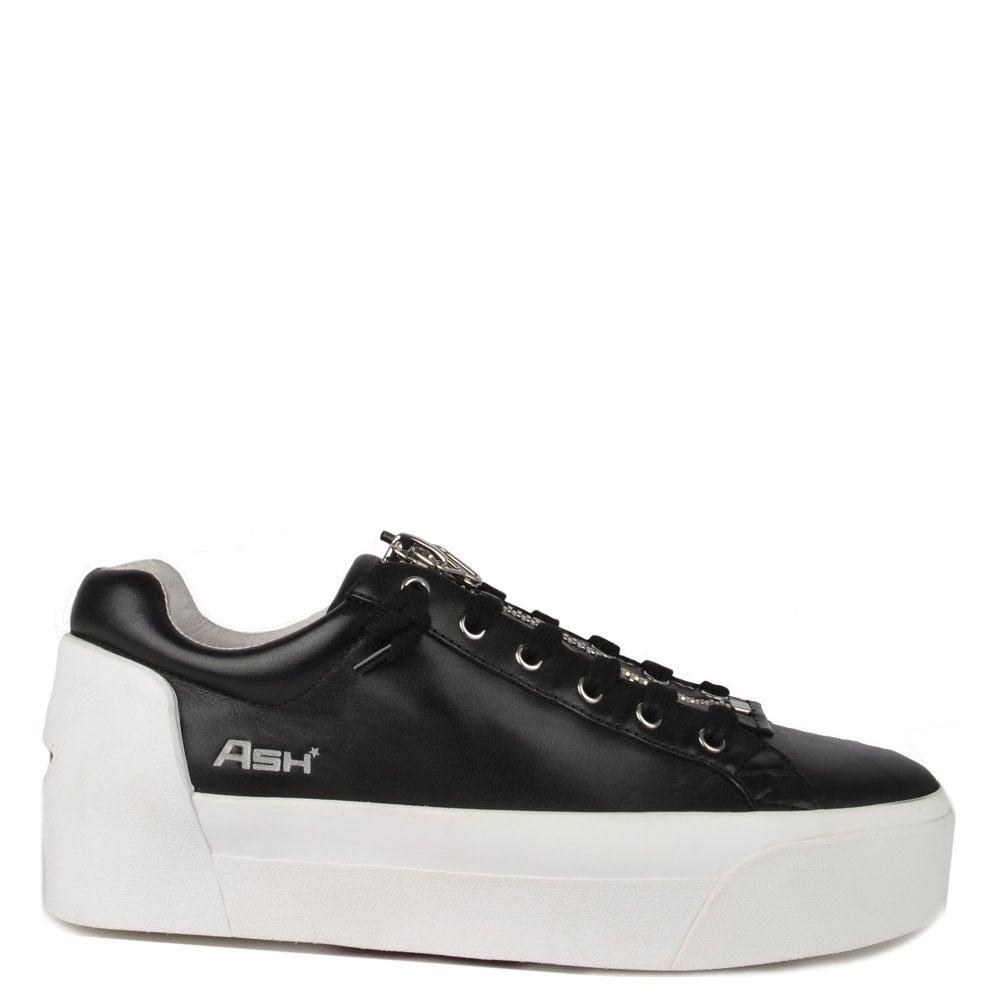 31796c28564 Ash Footwear Buzz Black Leather Platform Trainer