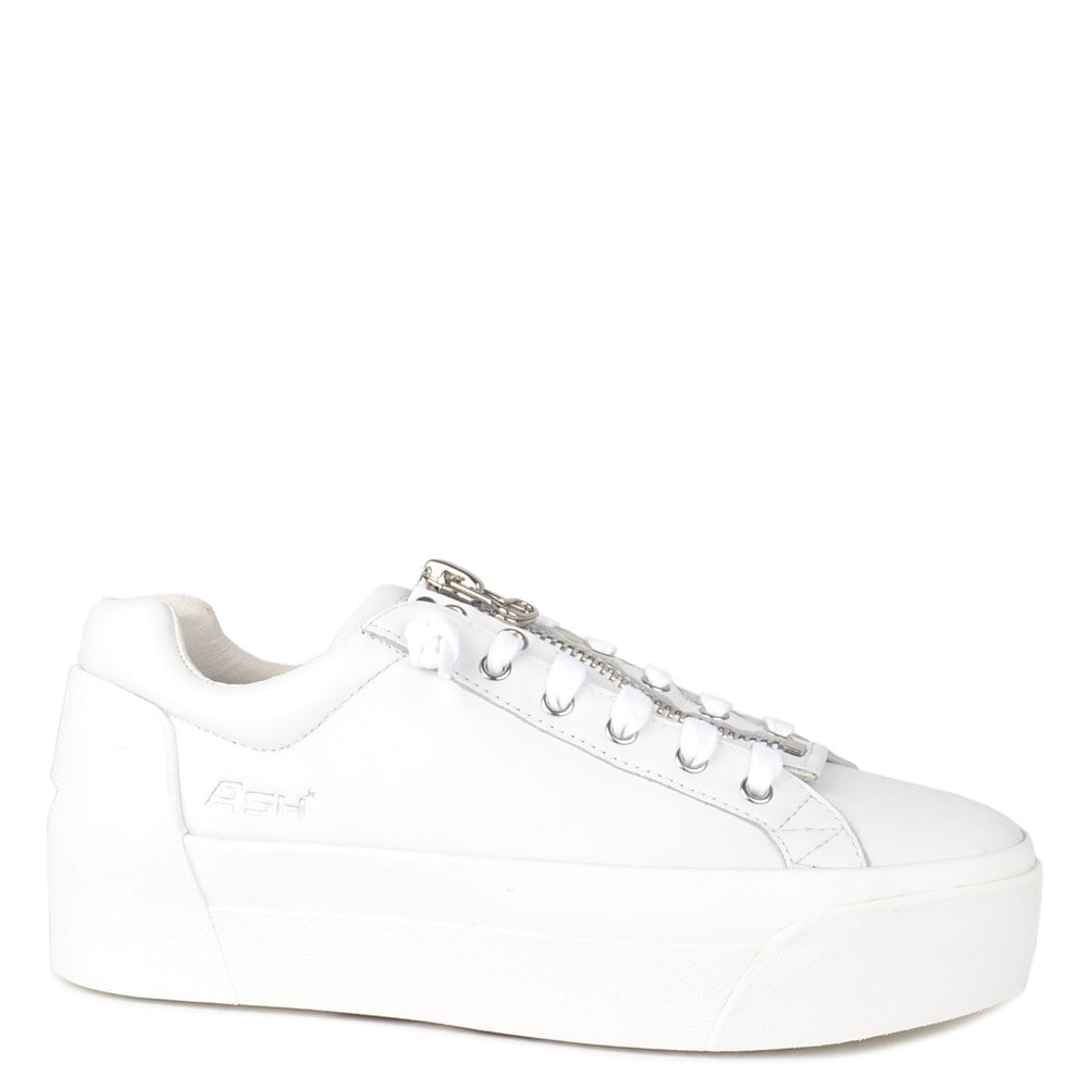 966724214308 Ash Footwear Buzz White Leather Platform Trainer