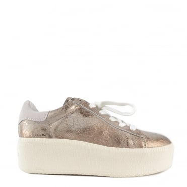 Cult Gold Cracked Leather Trainer