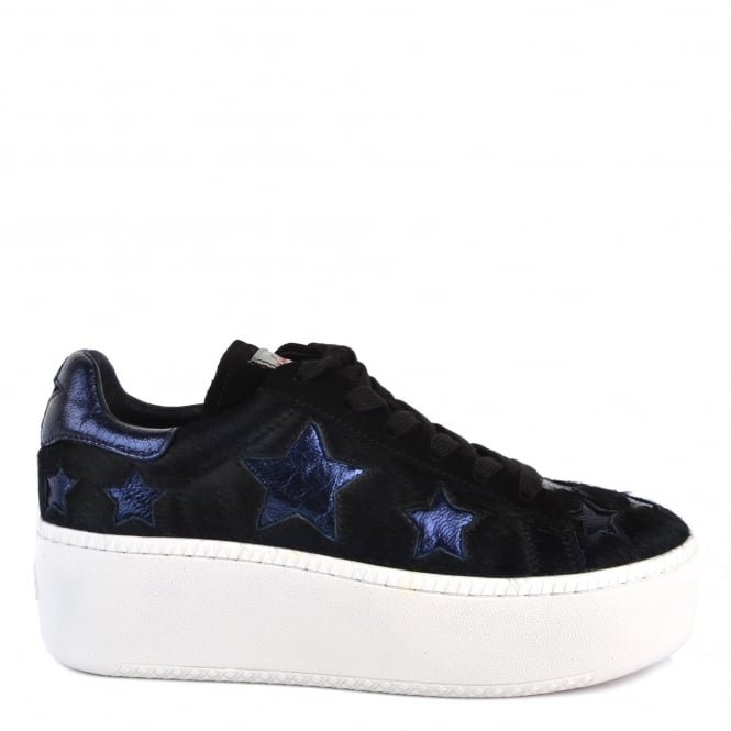 Ash Footwear Cult Star Black Pony Hair and Midnight Trainer