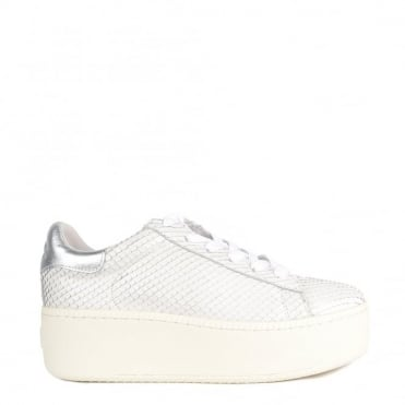 Cult White Python Embossed Trainer