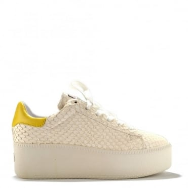 Cult White Python Leather Trainer
