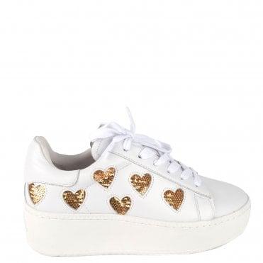 3395e197e8388 Cute White Leather Gold Heart Sequin Trainer · Ash Footwear ...