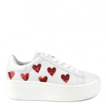 Cute White Leather Red Heart Sequin Trainer