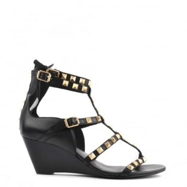 Dafne Black Studded Wedge Sandal