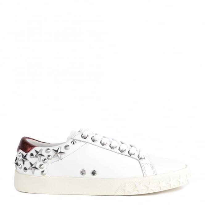 Ash Footwear Dazed White and Red Leather Star Studded Trainer